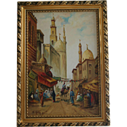 Orientalist Oil Painting of Cairo Market Scene in 1943 by Polish Artist in Ornate Gold Frame Orientalism