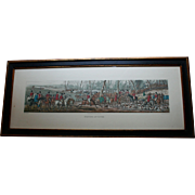"English Fox Hunting Meet Scene Hand Colored Engraving 26"" Long Equestrian Art after Aquatint by Thomas Sutherland"