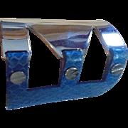 Runway Couture Blue  Snakeskin Metal  Cuff Bracelet