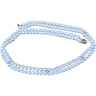 14K Diamond & Cultured Pearls Double Strand Necklace