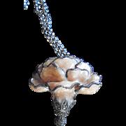 Rare Fabulous Judith Jack Sterling Enamel Flower Pendant / Brooch Necklace