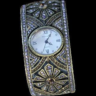 Heidi Daus Wrist Watch Lavender Rhinestone Cuff Bracelet