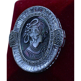 Stunning Sterling Silver Rhinestone Abalone Carved Cameo Brooch