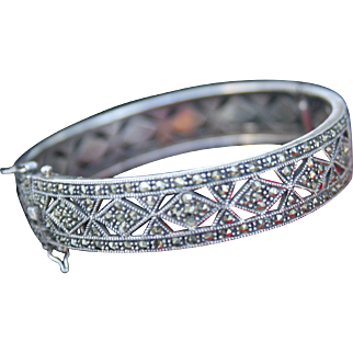 Fabulous Sterling & Marcasite Clamper Bangle Bracelet Deco Style