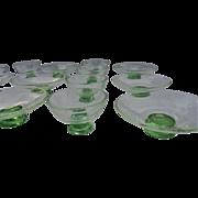 c1920s Pauly & C Glass Italy Controlled Bubble Dessert & Fruit Bowl Set
