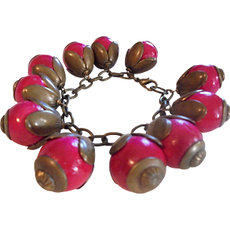 Vintage Haskell - esque Red Berries Cha-Cha Bracelet