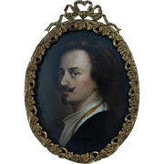 Antique Miniature Painting on Porcelain after Anthony Van Dyck Handsome Portrait
