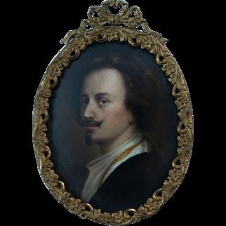 Antique Handsome Cavelier Miniature Portrait Painting on Porcelain after Anthony Van Dyck