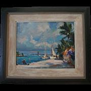 Emile A. Gruppe Signed Original Oil Painting Impressionist Tropical Scene