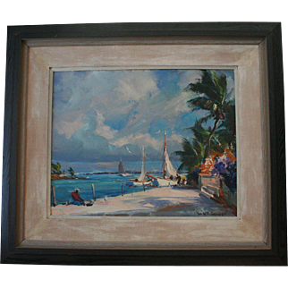 Seascape by Emile A. Gruppe Signed Original Oil Painting Impressionist Tropical Scene