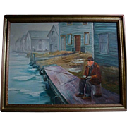 Vintage Oil Painting Man Fishing on Pier Signed