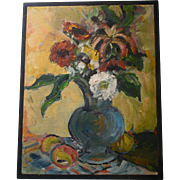Beautiful Still Life Oil Painting Flowers in Vase with Fruit