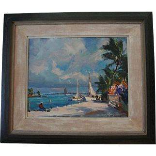 Emile A. Gruppe (1896 ~ 1978) Original Oil Painting Beautiful Tropical Scene