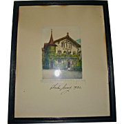 Bavarian Passion Play Actor Anton Lang Signed Etching 1930 Lang House Oberammergau Bavaria Germany