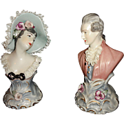 Antique Chantilly China Porcelain Bust Sculptures With Dresden Style Lace French Man Woman