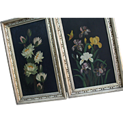 Floral Antique Still Life Oil Paintings in Gilt Frames