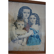 Very Rare Currier & Ives Three Little Sisters 1862 Hand Colored Litho