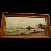 Antique Oil Painting California School Coastal Scene