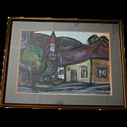 Cubist 1975 Tokaj Hungary Mixed Media Painting