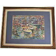 Florence Whitehead Rockport Maine Original Watercolor Painting Harbour Scene Listed Artist