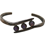 Gorgeous 925 Mexico Sterling Opalescent Stone Cuff Bracelet
