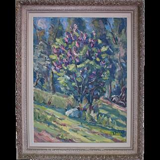 Springtime Treed Landscape by Janis Silins (Listed Latvian 1896-1992) Original Oil Painting Landscape