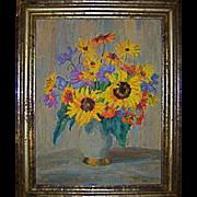 Sunflowers in Vase Original Oil by Listed Artist Klara Tilmetz-Merk (Germany)