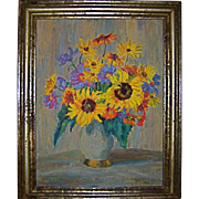 German Listed Artist Sunflowers in Vase Original Oil Painting by Klara Tilmetz-Merk