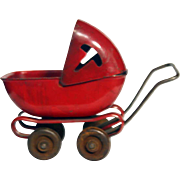 Vintage Metal Toy Doll Buggy Circa 1930's Unmarked