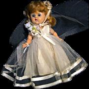 Vogue Vintage Ginny Bride Doll Circa 1952 Walker Painted Lash Hard Plastic