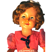 "Shirley Temple Doll by Ideal 19"" 1950's in Vinyl, Marked on back and Head ST-19"