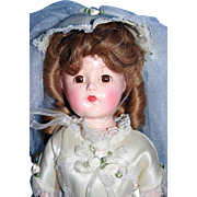 """Ann Shirley Little Lady 15"""" tall composition doll by Effanbee, marked in very good condition."""