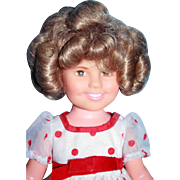 "Shirley Temple vinyl doll 14"" by Ideal from 1972, original"