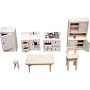 Wooden doll house furniture painted off white