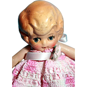 """All bisque German girl doll 6-1/2""""tall, jointed arms, Germany"""