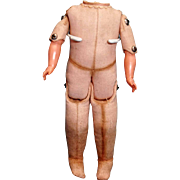 Body, legs and arms only cloth jointed body with celluloid hands, needing head.