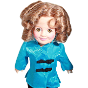 "Shirley Temple doll by Ideal, 8"" tall Stowaway outfit, original, good condition, tagged, original box. Circa 1982"