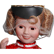 """Shirley Temple doll porcelain 14"""" Danbury Mint Poor Little Rich Girl, very good condition, original box, complete"""