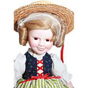 """Shirley Temple doll porcelain 14"""" Danbury Mint From 'Heidi', very good condition, original box, complete"""