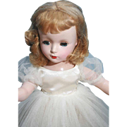 "Madame Alexander Wendy Bride in hard plastic from 1953 14"", original and tagged, doll is marked."