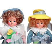 "Anili Italian felt dolls 15"" U. F.D. C.1986 Limited ed of 1600 Souvenir doll and companion and boxes"
