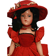 """Madame Alexander Scarlett composition doll 18"""" 1939-early 1940's replaced clothing"""