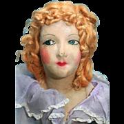 """Boudoir doll cloth mask face  28"""" tall, 1920's"""