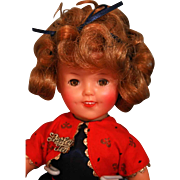 "Shirley Temple Ideal vinyl 12"" tall, 1957-1958 original, good condition"