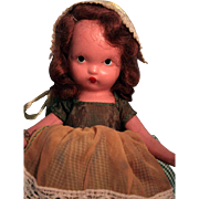 """Nancy Ann Story Book Doll 5-1/2"""" bisque child  'Jennie set the table'  #161 from 1943-1947, box, good condition, jointed arms"""