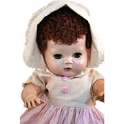 """Tiny Tears American Character doll 13"""" tall hard plastic head with rubber body, 1955 in original clothes"""