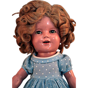 """Shirley Temple by Ideal original composition doll 13"""" tall in good condition from 1930's, replaced clothing - Red Tag Sale Item"""