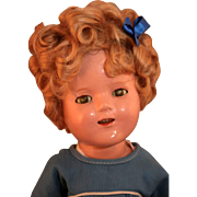 """Shirley Temple 16"""" composition doll by Ideal with markings in original scottie dress untagged in good condition"""