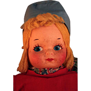 All cloth mask face Dutch doll vintage 1930's untagged that is Krueger type, Georgene  type, Mollye Goldman type doll