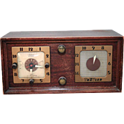 Travler Model 5170 5 Tube Clock Radio in Wood Case As-Is Not Working for Repair
